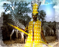 African princess in our digital art style with giraffes in the background. Royalty Free Stock Image