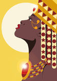 AFRICAN PRINCESS. WEARING JEWELLERY AND CROWN stock illustration