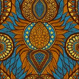 African print. In blue, orange and yellow colors. Colorful ethnic seamless pattern vector illustration