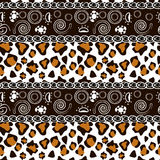 African print with cheetah skin pattern. African style seamless with cheetah skin pattern Stock Photo
