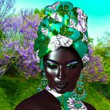 African Queen, Fashion Beauty. A stunning colorful image of a beautiful woman with matching makeup, accessories and clothing against a floral background.  3d Royalty Free Stock Photos