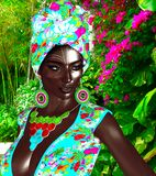 African Queen, Fashion Beauty. A stunning colorful image of a beautiful woman with matching makeup, accessories and clothing against a floral background.  3d Royalty Free Stock Photography