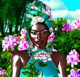African Queen, Fashion Beauty. A stunning colorful image of a beautiful woman with matching makeup, accessories and clothing against a floral background. 3d royalty free illustration