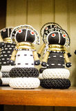 African rag dolls in  beads, fabrics clothes.  Local craft Royalty Free Stock Image