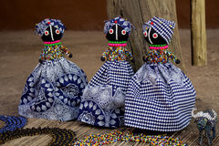 African rag dolls. Handmade beads, fabrics clothes. Local craft market. Stock Image