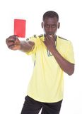African referee showing the red card Stock Photography