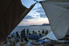 African refugees blocked in Italy. African Refugee blocked in the border from Italy and France - Ventimiglia stock image