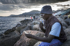 African refugees blocked in Italy Stock Image