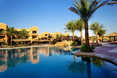 African resort, swimming pool. Royalty Free Stock Images