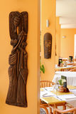 African Restaurant Dining Area. A dining area set up for customers in an african themed restaurant royalty free stock photo