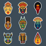 African ritual tribal masks stickers. Set of ethnic masks stickers in flat style. Collection of african tribal mask icons Royalty Free Stock Photos