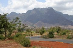 African road. Route through mountains in Tanzania royalty free stock photo