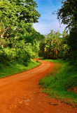 African road. Landscape with rainforest and road, Uganda Royalty Free Stock Photos