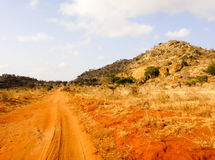African road. In Kenya. Red sand dunes Stock Photo
