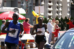 African runners. Two african runners during the international city marathon in Dusseldorf, Germany stock image