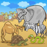 African safari animals cartoon illustration Stock Images
