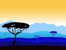 African safari background with tree silhouette Stock Photo