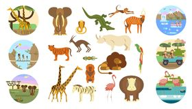 African safari banners. Set and animals. Ecotourism travel. Flat isolated eps 10 vector illustration Vector Illustration