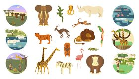 African safari banners. Set and animals. Ecotourism travel. Flat isolated eps 10 vector illustration Stock Photo