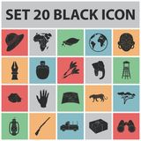 African Safari black icons in set collection for design.. Trophies and equipment for Safari vector symbol stock  illustration Royalty Free Stock Photos