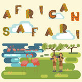 African safari concept. With people and animals. Flat isolated eps10 vector illustration. Eco tourism Stock Photography