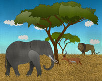 African safari with Elephant Lion and impala made form recycled paper Royalty Free Stock Image