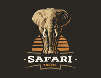 African safari elephant logo - vector illustration, emblem on dark background Stock Photo