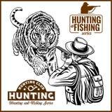 African safari hunting retro poster stock illustration