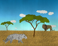 African safari with Lion and White Bengal Tiger. Illustration of African safari with Lion and White Bengal Tiger Royalty Free Stock Photos