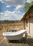 African safari lodge with outside bath overlooking hwange national park, Zimbabwe, 2016 royalty free stock images