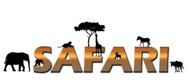 African Safari logo. Logo spelling out safari with animals surrounding the letters. Animals: Elephant mother and calf, Lioness, Giraffe eating from a acacia tree Royalty Free Stock Images