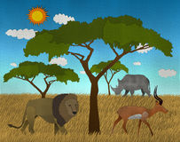 African safari made from paper art Stock Image