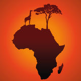 African Safari Map Silhouette Vector Background. With a giraffe, a tree and an elephant Royalty Free Stock Photography