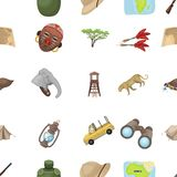 African safari set collection icons in cartoon style. Rifle, mask, map of the territory, diamonds and other equipment. African safari set collection icons in Stock Photo
