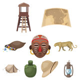 African safari set collection icons in cartoon style. Rifle, mask, map of the territory, diamonds and other equipment. African safari set collection icons in Royalty Free Stock Photography