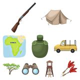 African safari set collection icons in cartoon style. Rifle, mask, map of the territory, diamonds and other equipment. African safari set collection icons in Stock Images
