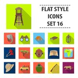 African safari set collection icons in flat style. Rifle, mask, map of the territory, diamonds and other equipment. African safari set collection icons in flat Royalty Free Stock Images