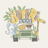 African safari tour with animals, vector illustration Stock Photos