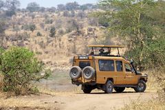 African safari. Toutists during a game drive by Toyota Land Cruiser at the Tarangire National Park, Tanzania Royalty Free Stock Images