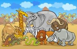 African safari wild animals cartoon illustration Royalty Free Stock Photos