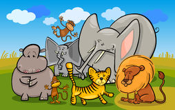 African safari wild animals cartoon illustration Stock Images