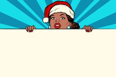 African Santa girl with copy space poster Stock Photos