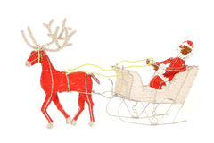 African Santa and sleigh. Reindeer pulling Santa and sleigh made from traditional African wire and beadwork royalty free stock image