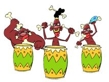African savage knocking the drums Royalty Free Stock Photo