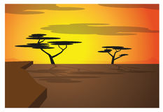 African savana. African svana illustration with sunset, trees and clouds Stock Photo