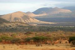 African Savanna. Landscape view of african savanna tsavo west national park kenya Royalty Free Stock Photography