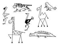 African savanna animals. Set in cartoon style stock illustration