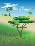 African Savanna Landscape. Illustration of african landscape, savanna nature with trees stock illustration
