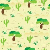 African savanna landscape seamless pattern. Royalty Free Stock Photography