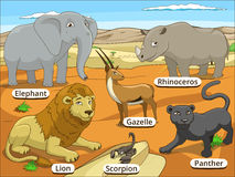 African savannah animals with names cartoon Stock Photo